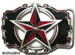 NAUTICAL STAR Belt Buckle (RED GLITTER) + display stand